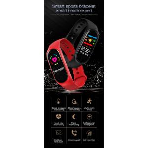 M3S bluetooth fitness okosóra, fekete + kék és piros szíj