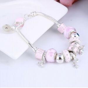 Pandora stílusú nemesacél pink charm karkötő muranoi üveggel