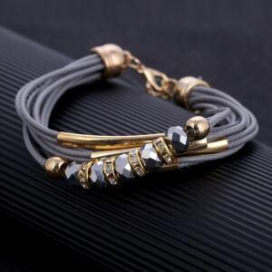 Többrétegű fémgyöngyös karkötő, szürke-arany