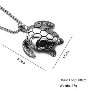 Hangsúlyos nemesacél teknős medál vastag nyaklánccal