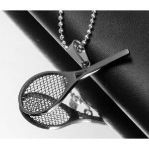 Teniszütős fekete nemesacél medál nyaklánccal