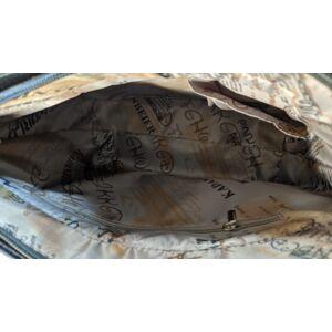 Maria King Extravagáns női lakkozott táska (fekete-türkiz)