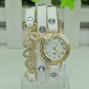 """Kék színű három szíjas """"Love"""" feliratú patentos óra"""