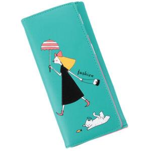 Fekete kislányos, macskás téglalap alakú pénztárca