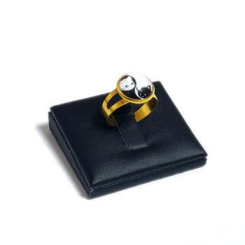 Yin-yang cica-üveglencsés-gyűrű-választható-arany-és-ezüst-színben