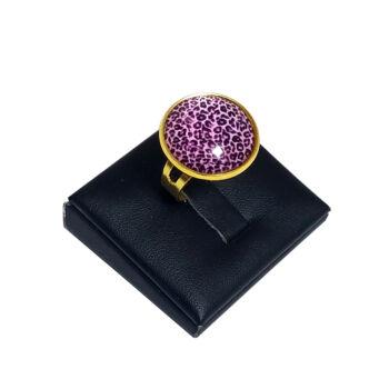 Leopárd-lila-üveglencsés-gyűrű-választható-arany-és-ezüst-színben