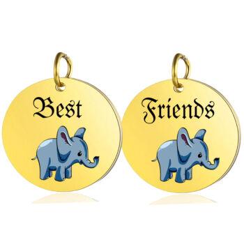 Best-Friends-elefántos-páros-medál-lánccal-vagy-kulcstartó