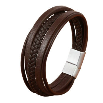 barna többrétegű férfi karkötő acél színű csattal,