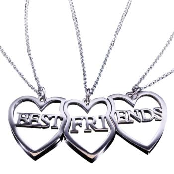 Prémium három szíves Best friends (Legjobb barátok) 3 db lánc és medál