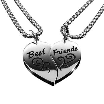 'Best friends' két db szívet formázó lánc és medál - prémium, dobozzal