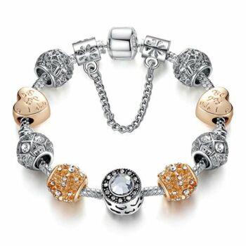'Be my Valentine' feliratú szíves ezüst-arany színű karkötő, 19 cm
