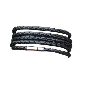 Retro fekete fonott bőr karkötő, 20 cm