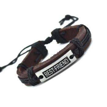 Legjobb barátok jelképes barna-fekete bőr karkötő