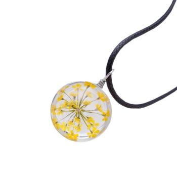 Üvegbe zárt sárga virág medálos nyaklánc