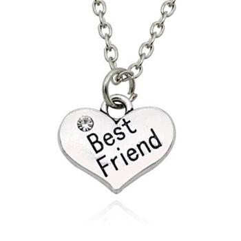 Best friend szív medál pici kővel, nyakláncra, karkötőre vagy fülbevalóra