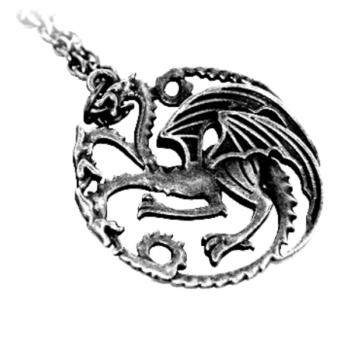 Sárkány medál nyaklánccal, antik ezüst színben