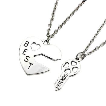 Best friends páros nyaklánc, szív és kulcs választható láncra, karkötőre, fülbevalóra