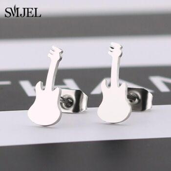 Nemesacél gitár beszúrós fülbevaló, ezüst színű