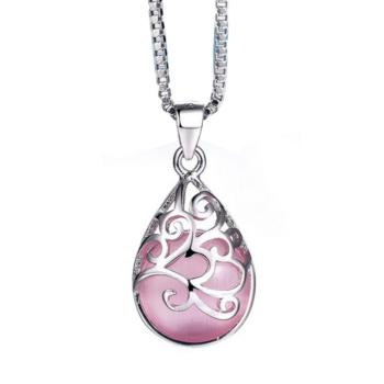 opál csepp alakú medál nyaklánccal, lilás pink