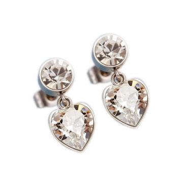 Szív motívumos ródiummal bevont nemesacél Swarovski kristály fülbevaló, áttetsző