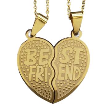 Nemesacél 'Best friends' kettős medál nyaklánccal, arany színű - prémium, ajándékdobozzal