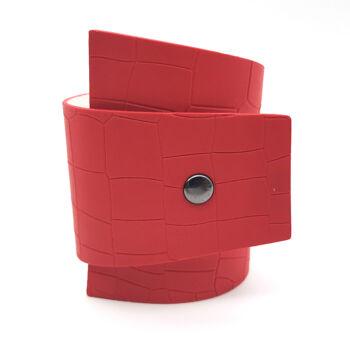 Divat dizájnbőr karkötő, állítható, piros
