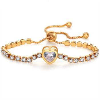 Kristályokkal kirakott karkötő szív dísszel, arany színű - állítható méret