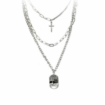 Hiphop kereszt és dögcédula medál tripla nyaklánccal, ezüst színű