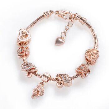 rose gold hattyú és szív motívumos karkötő,