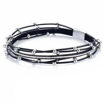 Többrétegű, dupla bőr charm karkötő, fekete-ezüst, uniszex