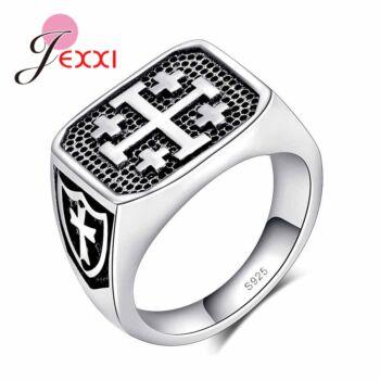 Ezüst ötvözet kereszt motívumos pecsétgyűrű, több méretben