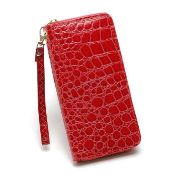 piros krokodil műbőr pénztárca