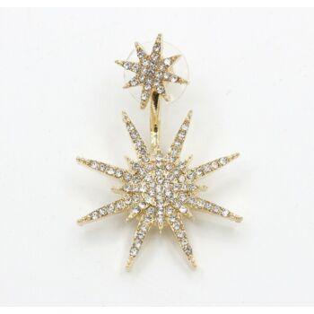 Trendi kristályokkal kirakott dupla csillagfény füldísz, arany