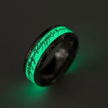 Sötétben világító Gyűrűk ura gyűrű, nemesacél, 9-es (Egy gyűrű, mind fölött)