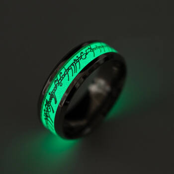 Sötétben világító Gyűrűk ura gyűrű, nemesacél, 8-as (Egy gyűrű mind fölött)