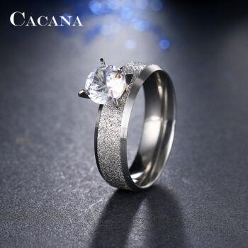 Nemesacél gyűrű cirkónium kővel, ezüst színű, 8-as méret