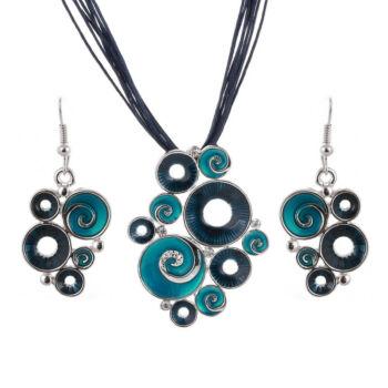 Afrikai stílusú bőr és zománc nyaklánc medállal és fülbevalóval, kék