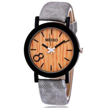 MEIBO divatos karóra, famintás számlappal, szürke szíjjal