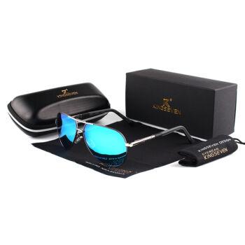 KINGSEVEN vintage pilóta napszemüveg, polarizált kék lencse, ezüst-szürke kerettel