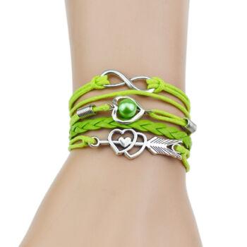 Többrétegű fonott karkötő szivecske nyíl és végtelen motívummal, zöld