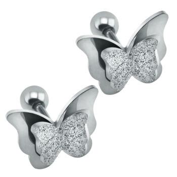 Nemesacél pillangós fülbevaló, ezüst szín