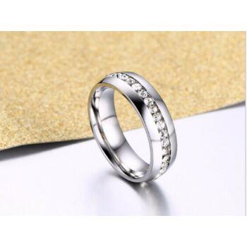 Egysoros nemesacél kövekkel kirakott gyűrű, 10