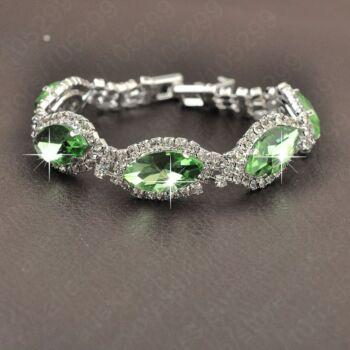 From Maria King Ezüstözött zöld kristályokkal kirakott karkötő