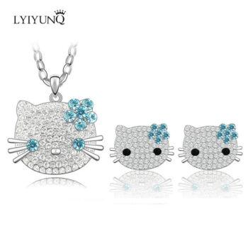 Hello Kitty jellegű csillogó-villogó nyaklánc és fülbevaló szett