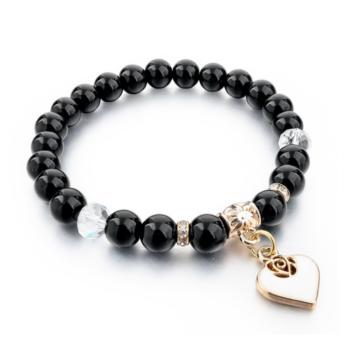 Természetes kő karkötő szív charm-mal, 19 cm, fekete