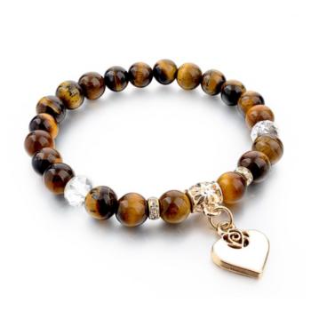 Természetes kő karkötő szív charm-mal, 19 cm, barna