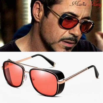 Oldalkeretes napszemüveg, piros lencsével