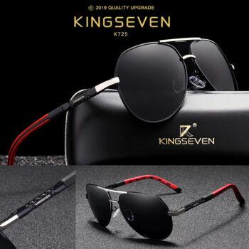 KINGSEVEN vintage pilóta napszemüveg, polarizált lencse, ezüst-fekete-piros kerettel