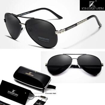 KINGSEVEN férfi pilóta napszemüveg, polarizált lencse, ezüst-fekete kerettel