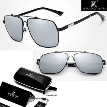 KINGSEVEN férfi napszemüveg, polarizált ezüst tükör lencse, fekete kerettel